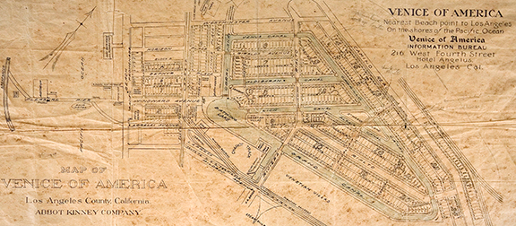 historic map of the original Venice, CA Canals